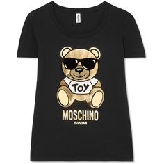 Moschino Printed cotton-jersey T-shirt (5 215 UAH) ❤ liked on Polyvore featuring tops, t-shirts, black, pattern t shirt, holiday t shirts, holiday tops, moschino tee and multi color t shirts