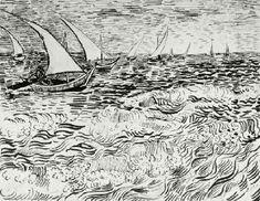 Vincent van Gogh: Fishing Boats at Sea  Arles: c. 17 July 1888 (Berlin, Kupferstichkabinett)