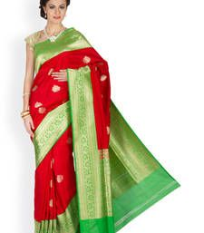 Buy Red  and  Green  hand_woven silk saree with blouse banarasi-silk-saree online