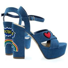 Pazia Blue Denim by Delicious, Graphic Embroidery Emoji Patch Stich... (165 RON) ❤ liked on Polyvore featuring shoes, sandals, embroidered sandals, blue dress sandals, block heel sandals, blue block heel sandals and block heel platform shoes