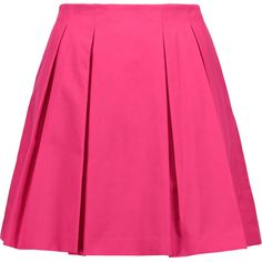 Alice + Olivia Conner pleated cotton-poplin mini skirt (430 PEN) ❤ liked on Polyvore featuring skirts, mini skirts, bottoms, saia, bright pink, stretchy mini skirts, pink mini skirt, stretchy skirts, stretch skirt and short pink skirt
