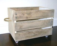 Pallet bin - cute for our firewood - made one of these already - gonna make more - love the rope idea for handles.