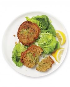 Chickpea fritters, I would substitute flax seed for the egg, and serve with pitas.