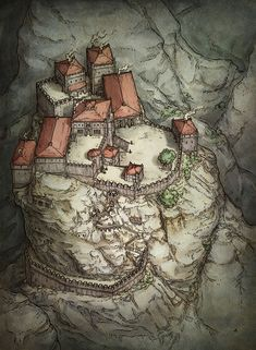 This illustration of a mountaintop fortress was created to add flavor to the edition release of the roleplaying game Dungeons & Dragons. Fantasy City Map, Fantasy Town, Fantasy Castle, Medieval Fantasy, Fantasy World, Fantasy Places, Fantasy Village, Dungeon Maps, Fantasy Concept Art