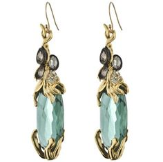 Pave Accented Gunmetal Stone Encased Earring