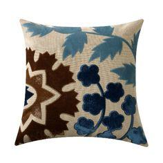 Adam and Viktoria Artichoke Brown and Prussian Blue Pillow @zinc_door #zindoor #pillow #blue #accessories