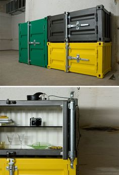 Pandora shipping container dresser - Looks HEAVY Metal Furniture, Industrial Furniture, Cool Furniture, Furniture Design, Industrial House, Vintage Industrial, Industrial Style, Container Architecture, Creative Storage