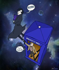 "nice-fox:  30 DAYS OF SUMMER BREAK DOCTOR WHO MEME  Day 12 - Name a Doctor Who TV crossover that you would love to see happen (other than Torchwood/Sarah Jane Adventures).  I guess it would be great to see a Sherlock/Doctor Who crossover (if Benedict Cumberbatch wasn't going to play the Master).  John would be like, ""But its the solar system!"" and Sherlock would say, ""Eh, I have more important things to fill my mind with,"" and the Doctor would be like, ""Well Sherlock, wouldn't it be helpful…"
