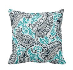 Ocean Paisley Outdoor Throw Pillow Cover by PrimalVogueHomeDecor