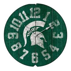"""Michigan State Spartans 16"""" Weathered Wood Wall Clock"""