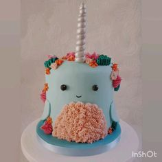 Narwhal Whale fondant and buttercream cake cute narwhal cake with piped buttercream on a sugarpaste Whale Cakes, Sea Cakes, Baby Cakes, Pink Cakes, Whale Birthday Cakes, Birthday Cake Disney, Buttercream Cake, Fondant Cakes, Cupcake Cakes