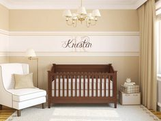 Inspiration post. Our walls are beige - so I'll paint white stripes and add a wall sticker with our Little Man's name. I'll make slightly more masculine than this inspiration photo.