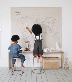 """In illustrating this map I felt impressed to call it """" Our World Map"""" instead of just """"World Map"""". High Chair Mat, Play Spaces, Kids Room Design, Stylish Kids, Little People, Kids Bedroom, Bedroom Ideas, Room Inspiration, Baby Room"""