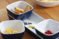 """Regatta Snack, Set 100% Melamine, BPA Free, 4-Pc. Set, Indoor/Outdoor Use. Size: 10"""" L x 3"""" H x 2-1/4"""" W. Appetizer and condiment server include 3 square serving bowls and serving tray. Square bowls can be easily removed. Use for fruit, nuts, olives, and cheese to list a few. INSTRUCTIONS: This product is designed for Serveware, Tableware, Serving Bowls, Oven, Appetizers, Tray, Snacks, Make It Yourself, Fruit"""