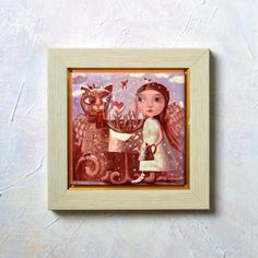 Hand Painted Ceramic Tile Wall Art Whimsical  Angel Girl & Cat in winter Seeing Visions of Spring in Crystal Ball - valentine Girl art Angel art