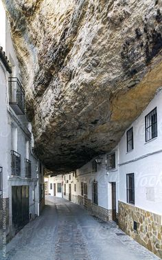 Setenil's unique and extreme urban beauty make it one of the main tourist destinations in the Sierra de Cádiz, Andalusia, Spain People living under rocks! is part of Spain travel - Places To Travel, Places To See, Places Around The World, Around The Worlds, Beautiful World, Beautiful Places, Spanish Towns, Unusual Homes, Stairway To Heaven