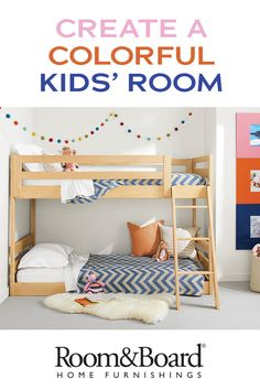 The clean, modern design of the Waverly bunk provides plenty of room for personalization in this shared kids' bedroom. Its low profile is great for this small space.