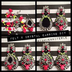 @Jennifer Le   DIY Luxe-For-Less: Oversized Crystal Chandelier Earrings. I used felt, needle...