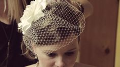 blusher veil w/ flower  wedding ideas.  hairpiece.  bride's hair