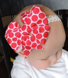 """Simple 4"""" Red and White polka dot Boutique Style hairbow by LeBeausBowsBoutique infant hair bow red hair bow, baby girl hair bow"""