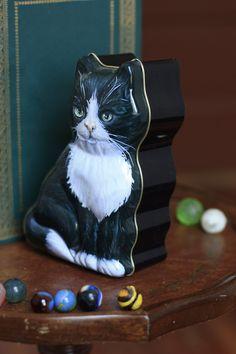 Meow Kitty Shaped Tin Box. $8.00, via Etsy.