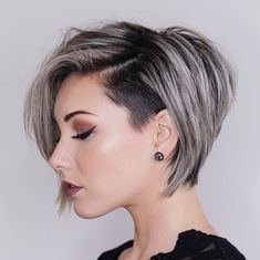 Short Layered Hair Style - 60 Classy Short Haircuts and Hairstyles for Thick Hair - The Trending Hairstyle Girls Short Haircuts, Short Hairstyles For Women, Layered Hairstyles, Short Undercut Hairstyles, Edgy Bob Haircuts, Shaved Side Hairstyles, Spring Hairstyles, Black Hairstyles, Girls With Short Hair