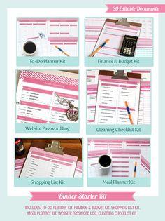 Home Management Binder Starter Kit - 30 editable documents