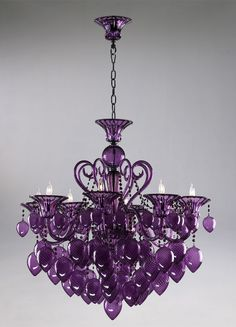 Retro Glamour Purple Glass Chandelier Horchow 8 Light Violet Murano Style | eBay