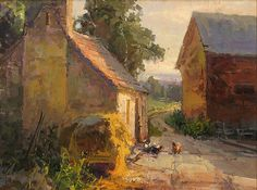 Barn Yard (Normandy) by Kathryn Stats - Greenhouse Gallery of Fine Art