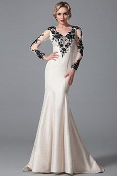 Graceful Long Sleeves Evening Dress With Lace Details (02151814)
