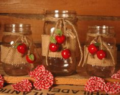 Apple Harvest collection of decorated mason jars table decor, kitchen decor, home decor, Fall decor Apple Kitchen Decor, Rustic Kitchen Decor, Rustic Wall Decor, Farmhouse Decor, Rustic Wall Sconces, Rustic Walls, Diy Interior, Apple Decorations, Apple Harvest