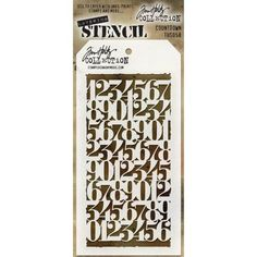 Tim Holtz Layering Stencil - Countdown Tag-shaped stencil measures 4 x 8 Includes convenient hole in top to attach with a basic book ring (not included). Here's what Tim says about these new stencils. Tim Holtz, Frantic Stamper, Stampers Anonymous, Stencil Designs, Art Store, Ink Painting, My Stamp, Mixed Media Art, Layering