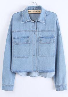 Light Blue Pockets Turndown Collar Denim Trench Coat