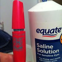 I wonder if this works.....?   MAKE MASCARA LAST 3X LONGER!! A typical mascara dries out before half of it is used. When your favorite mascara starts getting dry, add 4-5 drops of saline solution or eye drops to the bottle. Insert your wand and stir and TA-DA!! Fresh mascara! This can be repeated 2 or 3 times until all you mascara is gone.
