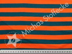 Michas Stoffecke -  Stretchjersey Blockstreifen orange-petrol T-HM125065-0802