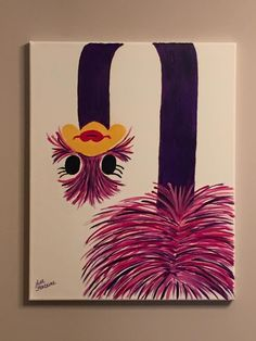 Acrylic Painting on Canvas by Lisa Fontaine.  Ostrich.  Animal.