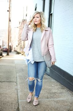 Blush Pink Moto Jacket to Transition into Spring Casual Fall Outfits, Winter Outfits, Spring Outfits, Over 60 Fashion, Plus Size Fashion Blog, Cold Weather Outfits, Moto Jacket, Leather Jacket, Distressed Denim