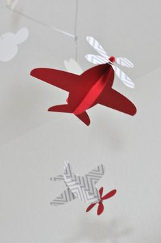 Baby Mobile, Recycled Paper Airplanes in Red. $36.00, via Etsy.
