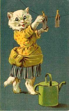 Vintage Nister Dressed Cat Hanging Laundry Magnet cat40