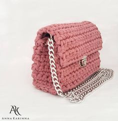 Power Pink Bag T-shirt Yarn Handbag Pink Crochet Bag