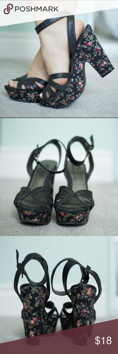 "Floral patterned heels Delicate antique floral fabric and black vegan leather straps. 5"" heel, 1.5"" platform. Very easy to walk in due to the large surface area of the heel. Only worn once! Shoes Heels"