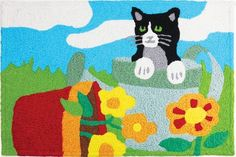 Jellybean Accent Cat Rugs Kitty In Planter JB-STS042