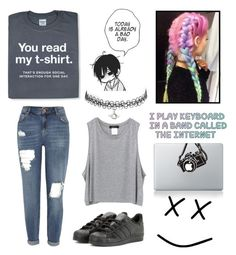 """""""Anti-social~"""" by deep-quotes ❤ liked on Polyvore featuring River Island and adidas"""