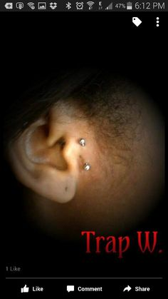 Anti-tragus piercing performed by Trap Wright. ..