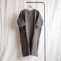 jujudhau - V-Neck Dress #linen khaki