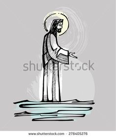 Hand drawn vector illustration or drawing of Jesus Christ walking on the water offering an open hand - stock vector