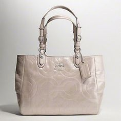 Coach Mia Embossed OpArt Shimmer Putty Leather Tote