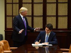 Trump accompanies Trudeau as the prime minister signs the guest book in the Roosevelt Room of the White House. Immigration Policy, Common Ground, Justin Trudeau, Women Empowerment, Business Women, Donald Trump, Presidents, Politics, Prime Minister
