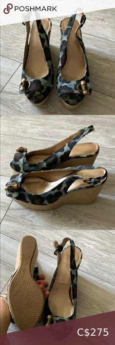 Stuart Weitzman Summer wedge sandal Perfect condition wedge sandal in denim leopard print! Stuart Weitzman Shoes Wedges Wedge Loafers, Peep Toe Wedges, Wedge Sandals, Stuart Weitzman, Conditioner, Black Suede Wedges, Summer Wedges, Womens Shoes Wedges, Closet