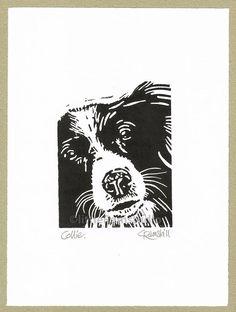 Collie Dog  Linocut Print by littleRamstudio on Etsy, £15.00